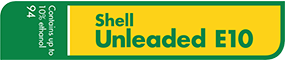 Shell Unleaded E10 - contains up to 10% ethanol